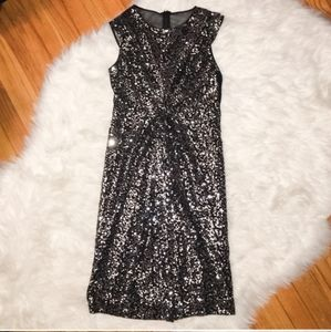 VINCE CAMUTO Black and Silver Sequin Knotted Dress